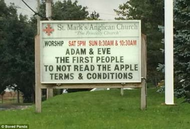 adam and eve church sign